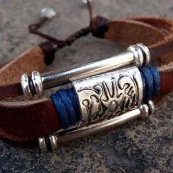 Leather zen unisex bracelet
