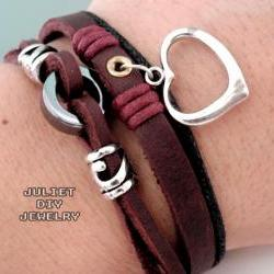 Silver heart charm leather bracelet 